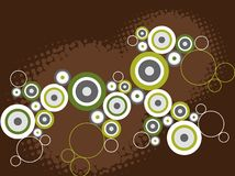 Retro grungecirkels op bruin stock illustratie