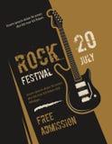 Retro grungerots - en - rolt, zwaar metaal, vector de afficheontwerp van het muziekfestival Stock Afbeelding