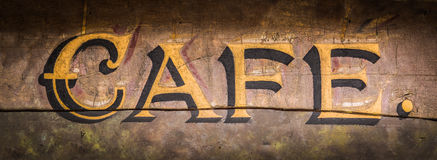 Retro Grungy Cafe Sign. Retro Vintage Grungy Wooden Painted Cafe Sign royalty free stock image
