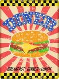 Retro- grungy Restaurantzeichen, getragen und verwittert, Vektorillustration stock abbildung