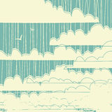 Retro grungy vector clouds background Royalty Free Stock Images