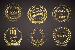 Retro Guarantee Labels with Wreaths Stock Photos