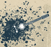 Retro a guitar. Guitar on a retro a background with notes. A vector illustration Royalty Free Stock Photography