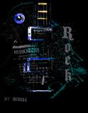 Retro guitar. On vintage abstract background Stock Images