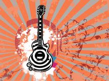 Retro guitar. On vintage abstract background Royalty Free Stock Photo