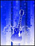 Retro guitar. Guitar on blue background with stars an swirls Royalty Free Stock Photos