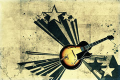 Retro guitar. Vintage gibson guitar on grunge background Royalty Free Stock Photo