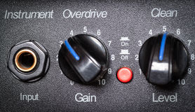 Retro guitar amplifier control panel. Stock Image