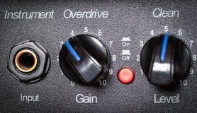 Retro guitar amplifier control panel. Stock Image