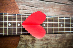 The retro guitar for the lover Stock Photos