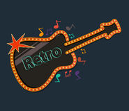 Retro guitar with music notes Stock Photos