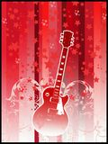 Retro guitar party flyer. Guitar on red background with stars an swirls Stock Photos