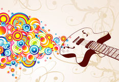Retro guitar singing bubbles stock images