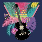 Retro Guitar With Tropical Leaves Stock Images