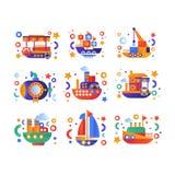 Retro gullig vattentransportuppsättning, ångbåt, passagerarekryssningskepp, ubåt, yachtvektorillustration på en vit stock illustrationer