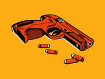 Retro gun. Gun with bullets in retro three color print halftone pattern Stock Photo