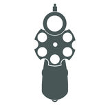Retro gun front view. Retro pistol silhouette front view as gun symbol illustration Royalty Free Stock Photo