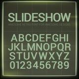 Retro- Guss mit Unschärfeeffekt Vektor verzerrte Retro- Diaprojektor-Schirm tiltle Alphabet Lizenzfreie Stockbilder