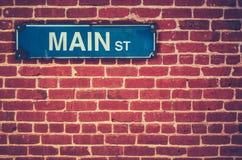 Retro główna ulica znak Obrazy Stock