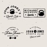 Retro gym logo templates with some fitness themed design elements Royalty Free Stock Photography