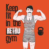 Retro Gym typographic vintage grunge poster design with strong man. Retro vector illustration. Stock Images