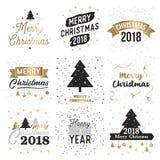 Retro hälsningkort och bakgrund för jul Arkivfoto