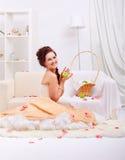 retro härlig flicka Royaltyfria Bilder