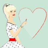 Retro härlig flicka med hjärta, utvikningsbild Arkivbild