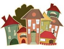 Retro- Häuser Lizenzfreies Stockfoto