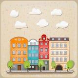 Retro Häuser als Weinlese städtisch Lizenzfreies Stockbild