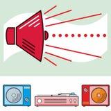 Retro högtalare- och ljudsignalobjekt Arkivfoto