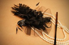 Retro hair ornament. From feathers necklace and a tube for cigarettes Royalty Free Stock Image