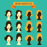 Retro hairstyles female silhouettes set Royalty Free Stock Photography