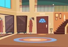 Retro hall Tecknad filmkorridorinre med trappa och ingångsdörren, trähängaren och skon hyr rum Inomhus husvektor royaltyfri illustrationer