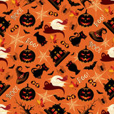 Retro Halloween Background Seamless Pattern Stock Images