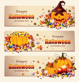 Retro Halloween-Banners Royalty-vrije Stock Foto