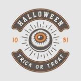 Retro- Halloween-Logo der Weinlese, Emblem, Ausweis, Aufkleber, Kennzeichen stock abbildung