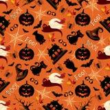Retro Halloween-Naadloos Patroon Als achtergrond Stock Afbeeldingen