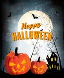 Retro Halloween-nachtachtergrond met twee pompoenen Royalty-vrije Stock Afbeeldingen
