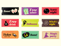 Retro halloween vector tickets. Going to Halloween party? Booo! Use my tickets! In 9 different variants. Vector Illustration Royalty Free Stock Photos