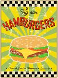 Retro hamburger or diner sign Royalty Free Stock Photography