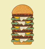 Retro hamburger poster Royalty Free Stock Image