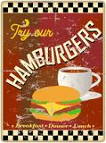 Retro hamburger restaurant or diner sign, Royalty Free Stock Image