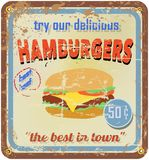 Retro hamburger sign Royalty Free Stock Photography