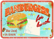 Retro hamburger sign Stock Image