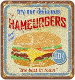 Retro hamburger sign Royalty Free Stock Photos