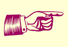 Retro- Hand der Weinlese mit dem Zeigen der Fingerillustration Lizenzfreie Stockfotos