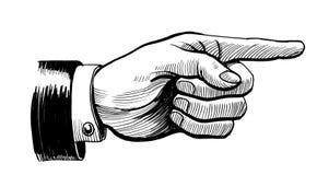 Retro- Hand, die nach rechts zeigt lizenzfreie abbildung