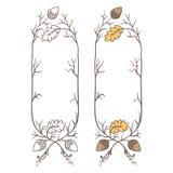 Retro hand draw decorative oak branch frame. Vintage vector design Stock Image
