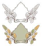 Retro hand draw decorative oak branch frame. Vintage vector design Stock Images